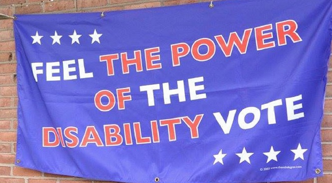 Blue Banner that reads Feel The Power of the Disability Vote