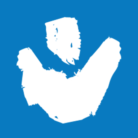 Outline of a single figure with arms raised against blue background