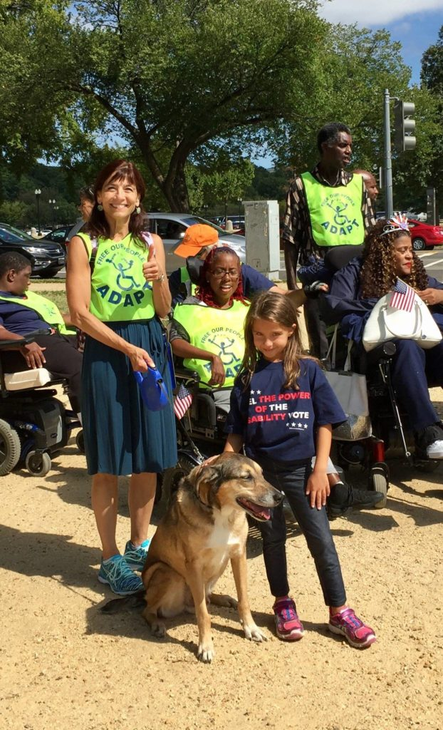 DRM Executive Director Virginia Knowlton Marcus, her dog Jackson and advocates