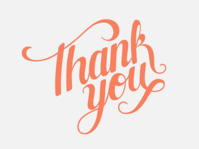 Orange script font that says 'Thank You'