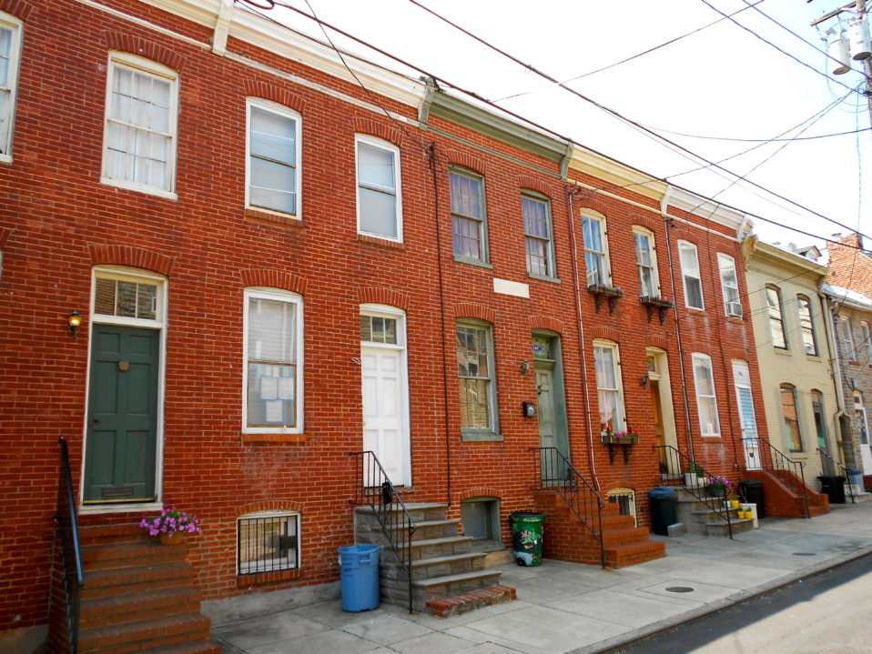 A block of row homes in Baltimore City