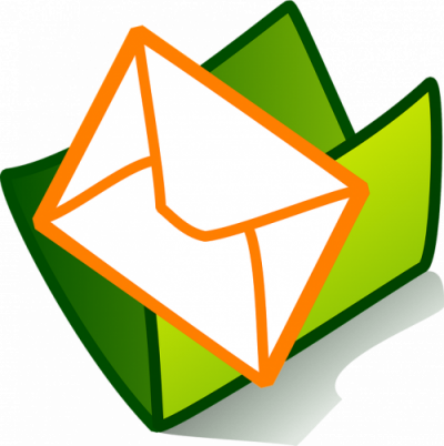 A green folder with an envelope being inserted