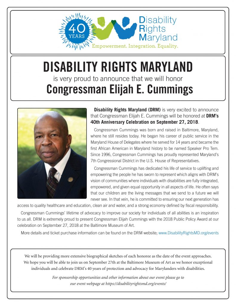 Award Announcement for Elijah Cummings
