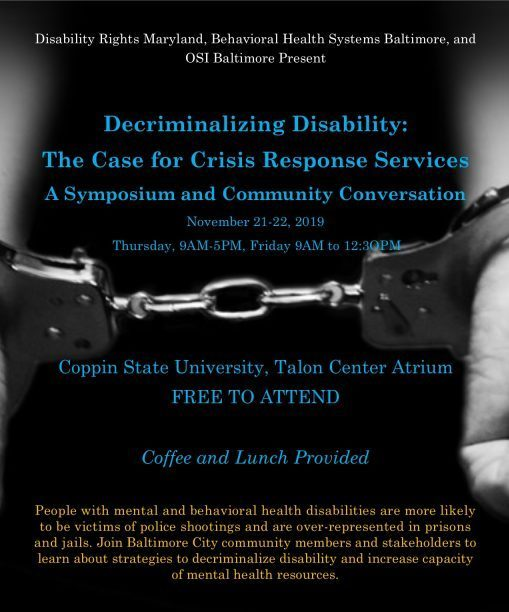 Event poster for Decriminalizing Disability: The Case for Crisis Response in Baltimore City