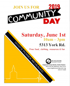 KWC Annual Community Day June 1, 2019 10 am to 3 pm. 5313 York Road Baltimore, MD 21212